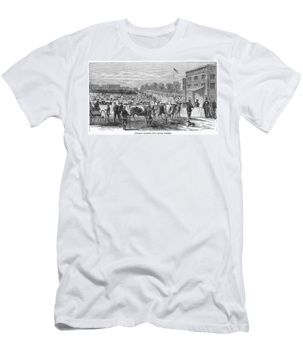 1868 Men's T-Shirt (Athletic Fit) featuring the photograph Chicago: Cattle Market by Granger