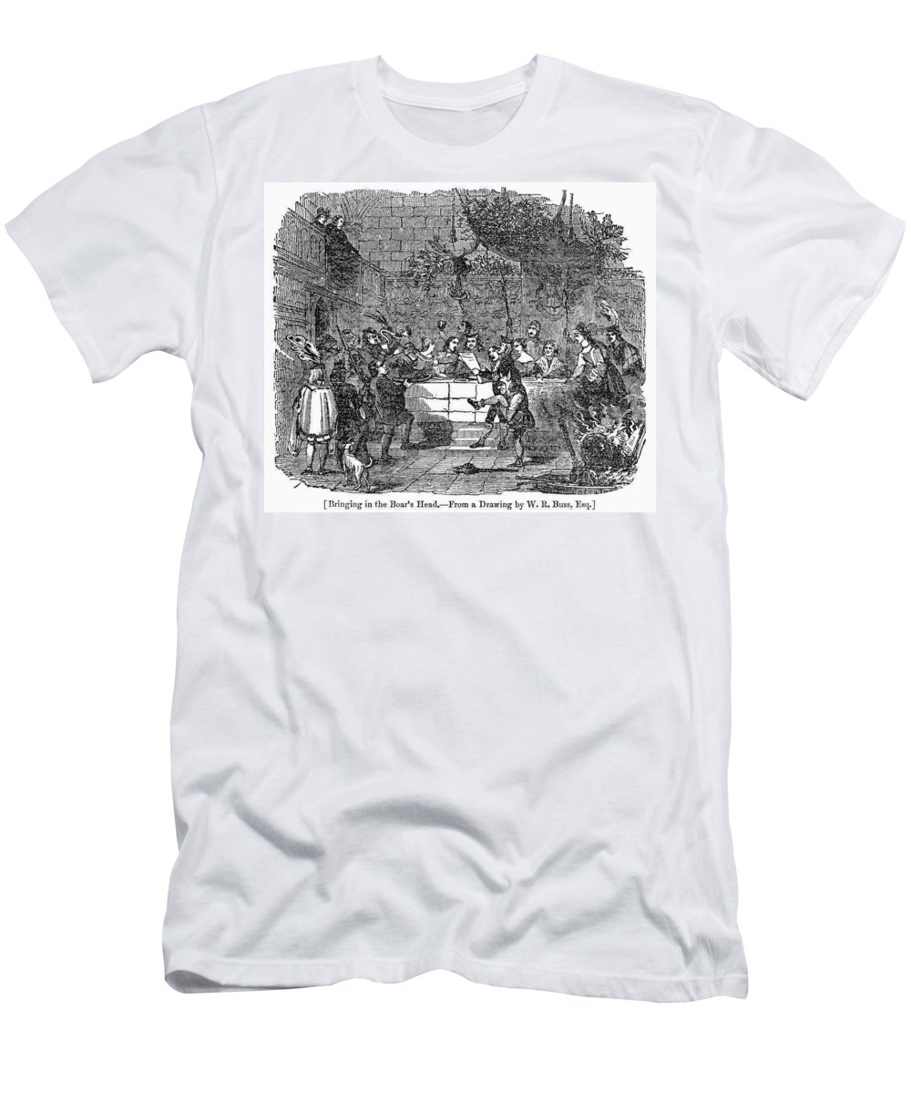1838 Men's T-Shirt (Athletic Fit) featuring the photograph Christmas Feast, 1838 by Granger