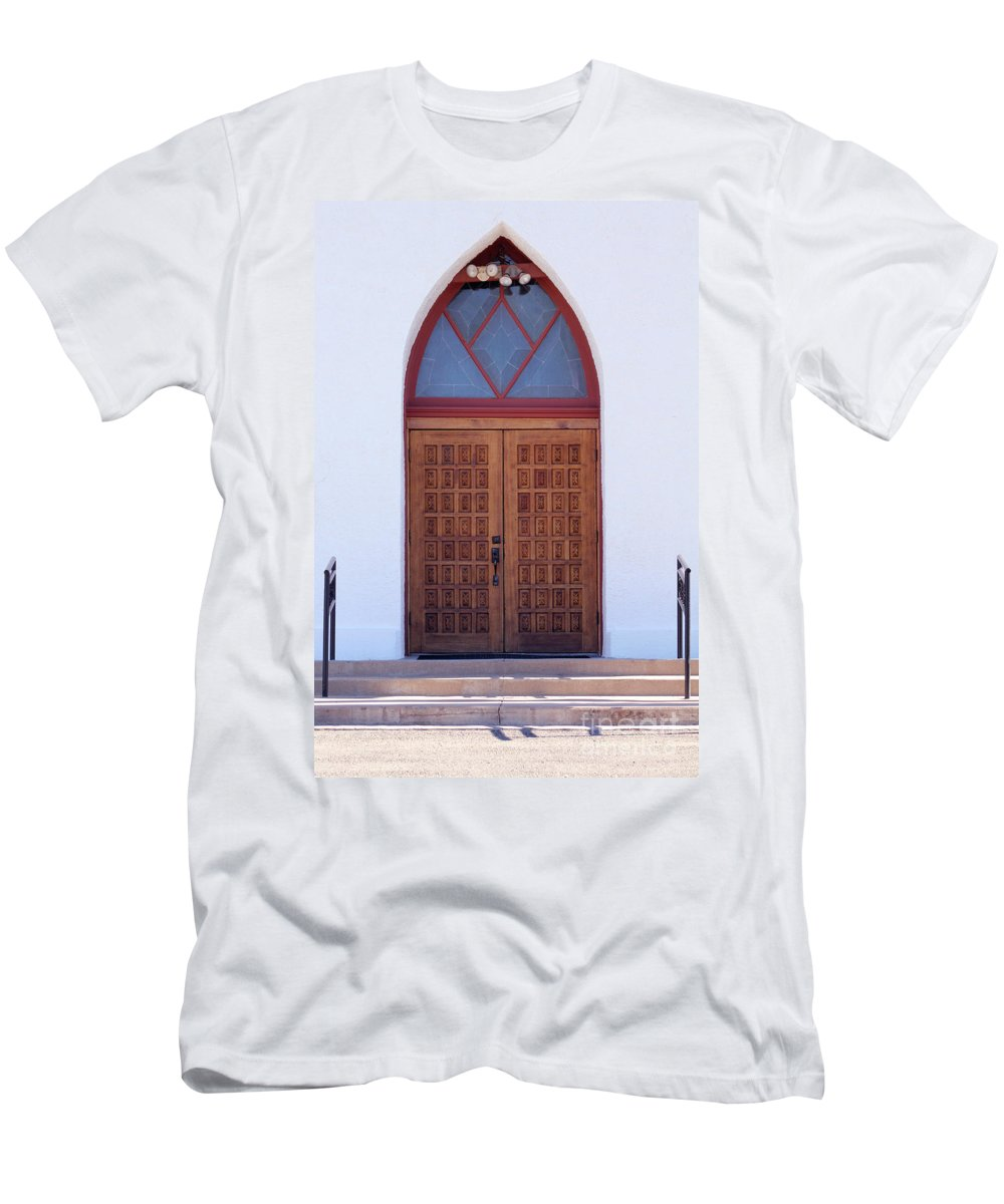 Christ Men's T-Shirt (Athletic Fit) featuring the photograph Christ's Red Door by Alycia Christine