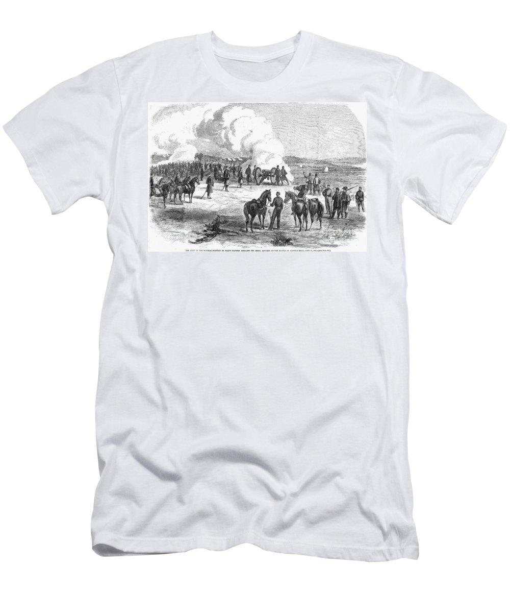 1862 Men's T-Shirt (Athletic Fit) featuring the photograph Civil War: 7 Days Battles by Granger