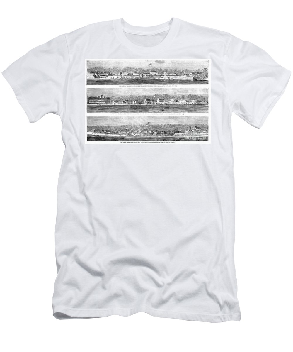 1863 Men's T-Shirt (Athletic Fit) featuring the photograph Civil War: Fort Moultrie by Granger