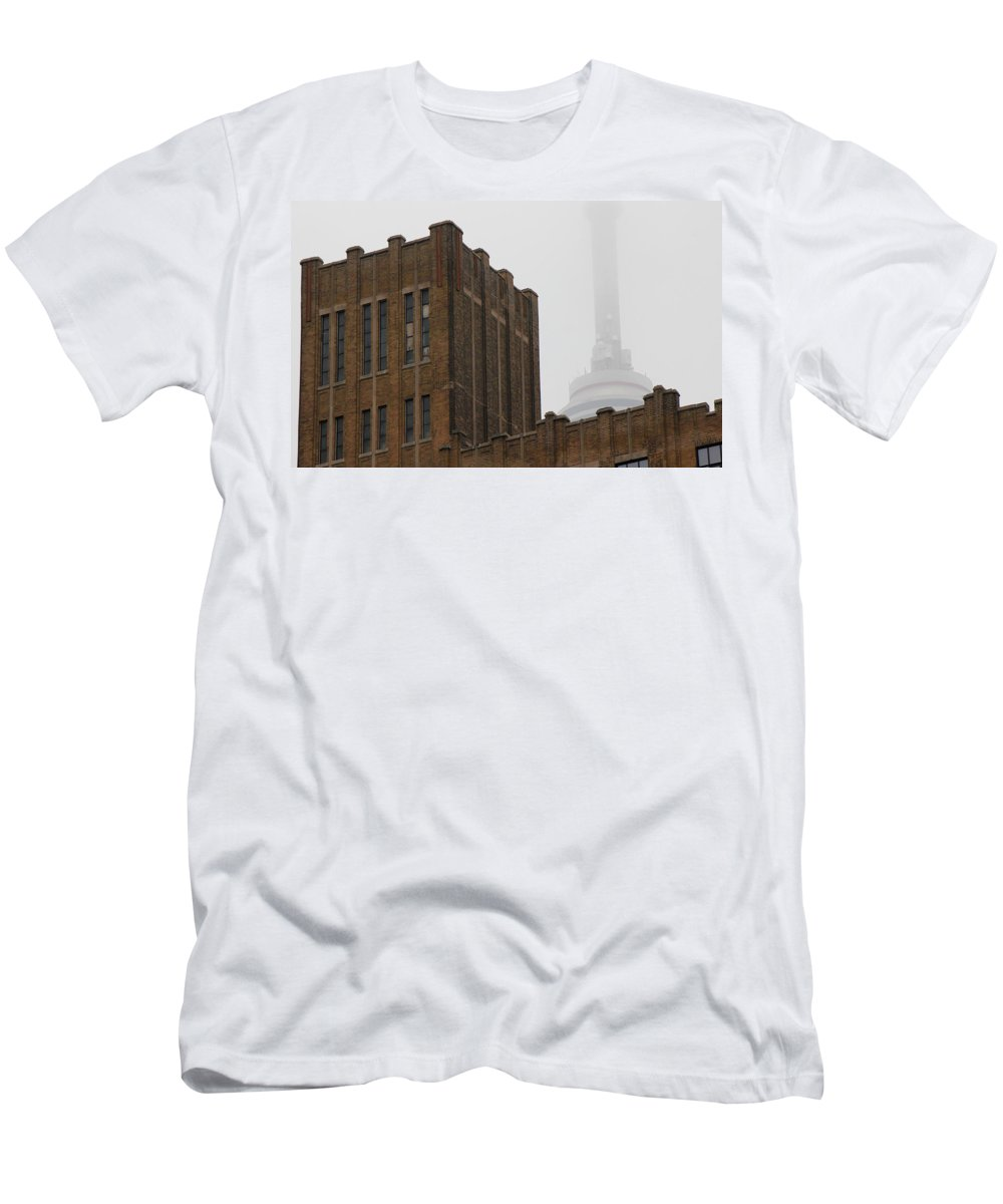 Toronto Men's T-Shirt (Athletic Fit) featuring the photograph Cn Tower In Fog by Andrew Fare