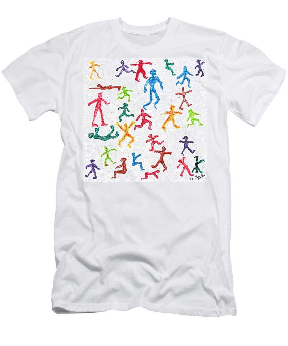 Abstract Men's T-Shirt (Athletic Fit) featuring the painting Colorful Acrylic Stickmen Characters by Carl Deaville