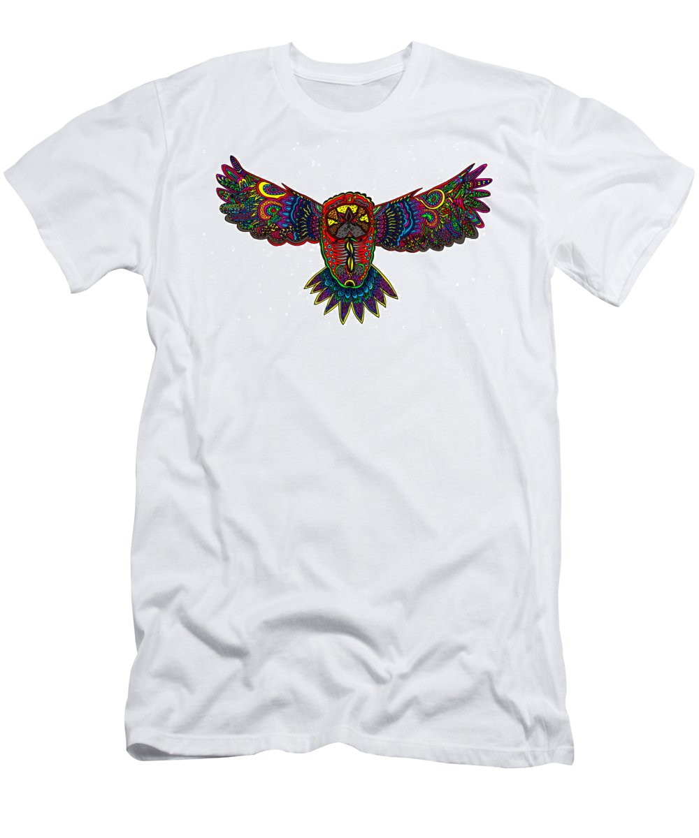 Owl Men's T-Shirt (Athletic Fit) featuring the mixed media Coloured Owl by Karen Elzinga