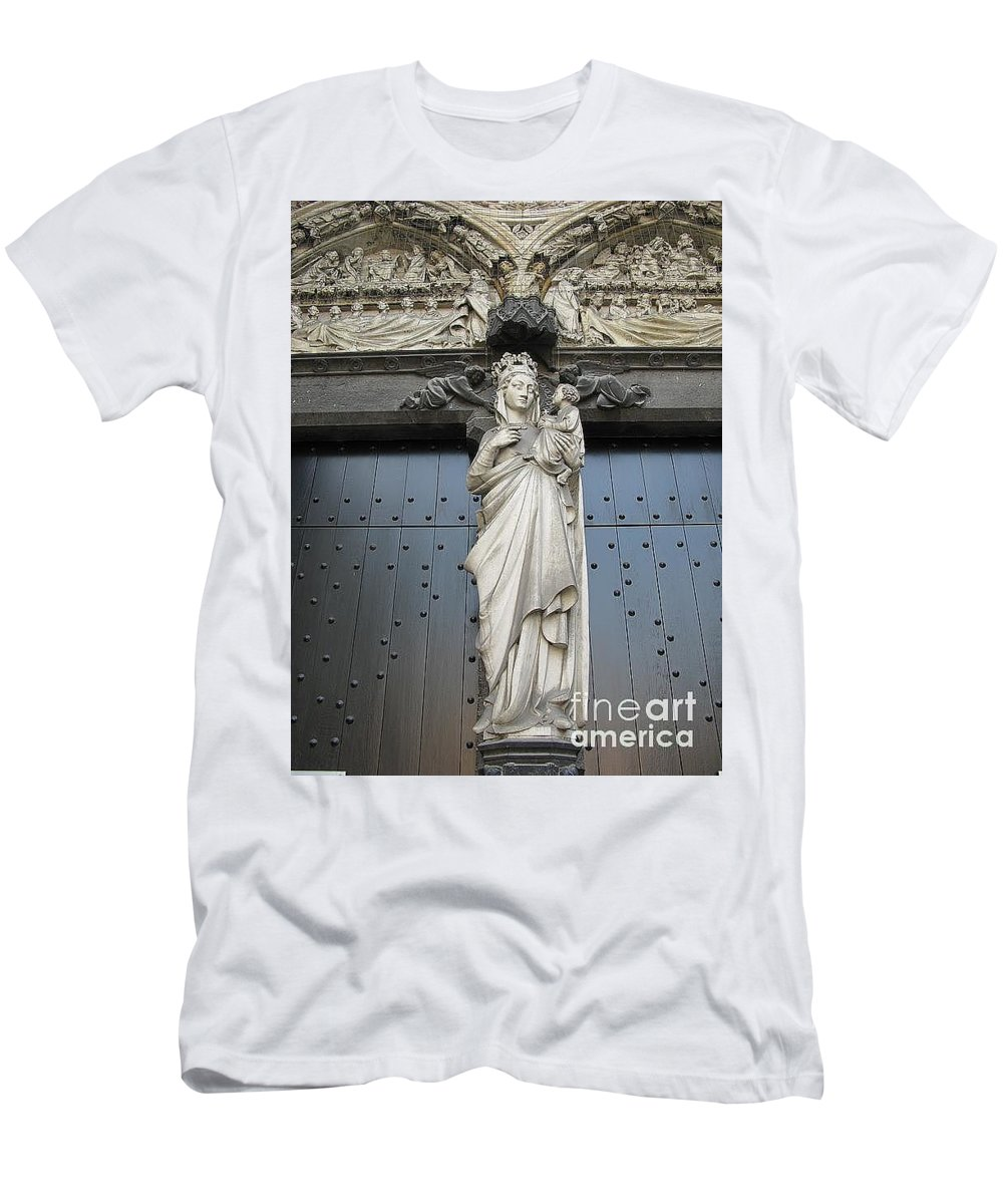 Brugge Men's T-Shirt (Athletic Fit) featuring the photograph Count Your Blessings- St Mary Of Brugge- 01 by Ausra Huntington nee Paulauskaite