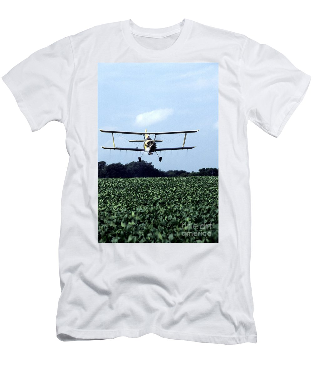 Crop Dusting Men's T-Shirt (Athletic Fit) featuring the photograph Crop Dusting by Photo Researchers