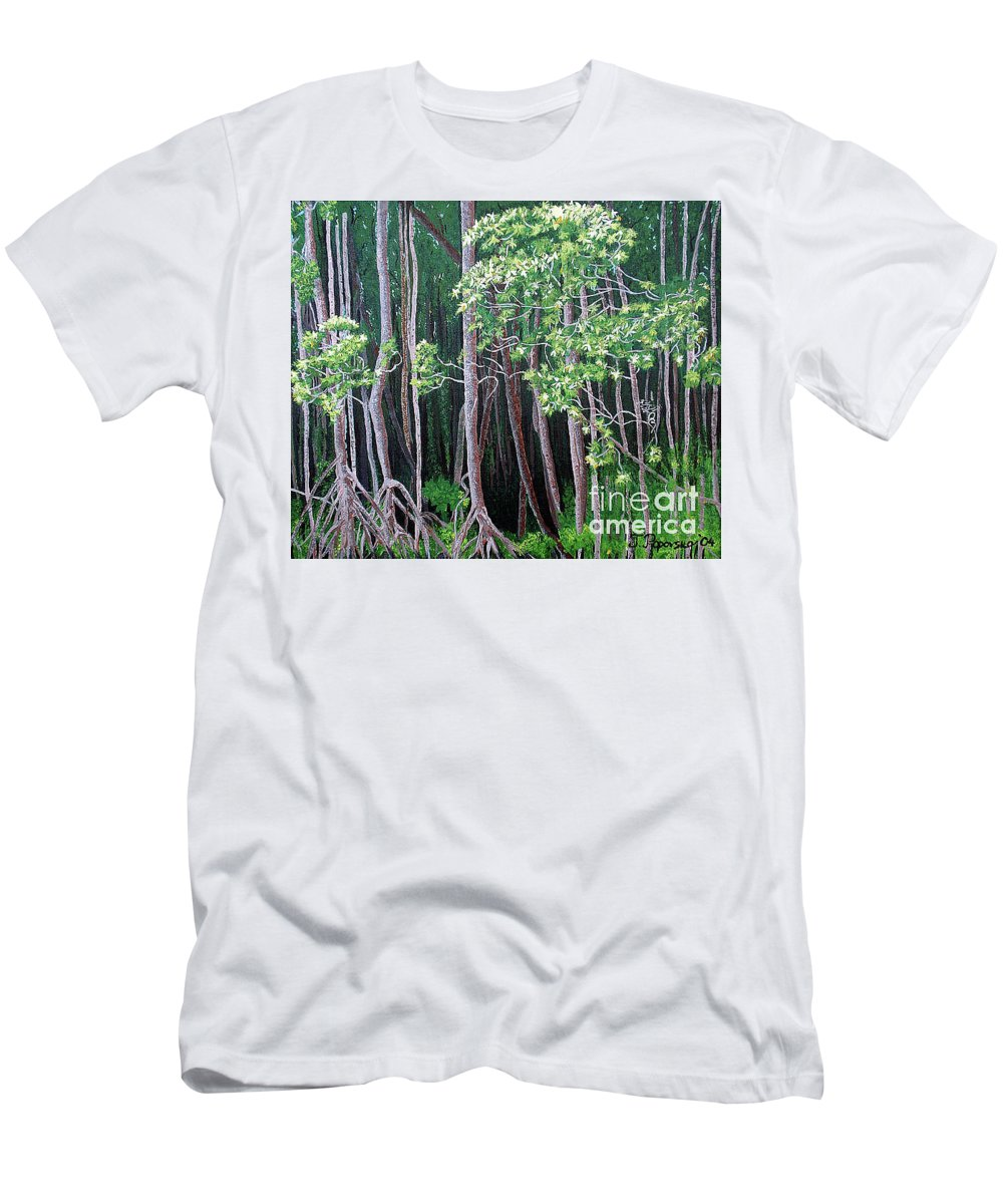 Paintings Men's T-Shirt (Athletic Fit) featuring the painting Daintree Forest At Twilight by Tatjana Popovska