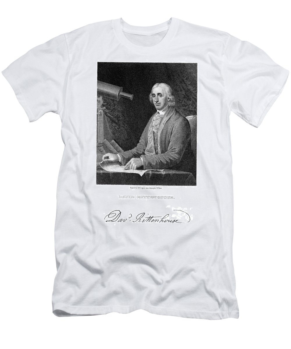 18th Century Men's T-Shirt (Athletic Fit) featuring the photograph David Rittenhouse by Granger