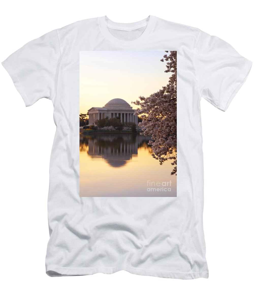 Dawn Men's T-Shirt (Athletic Fit) featuring the photograph Dawn Over The Jefferson Memorial by Brian Jannsen