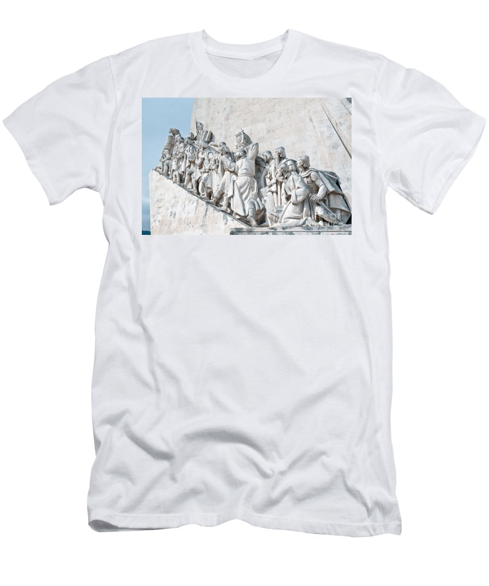 Sea Men's T-Shirt (Athletic Fit) featuring the photograph Discovery Monument Lisbon Portugal by Jim Chamberlain