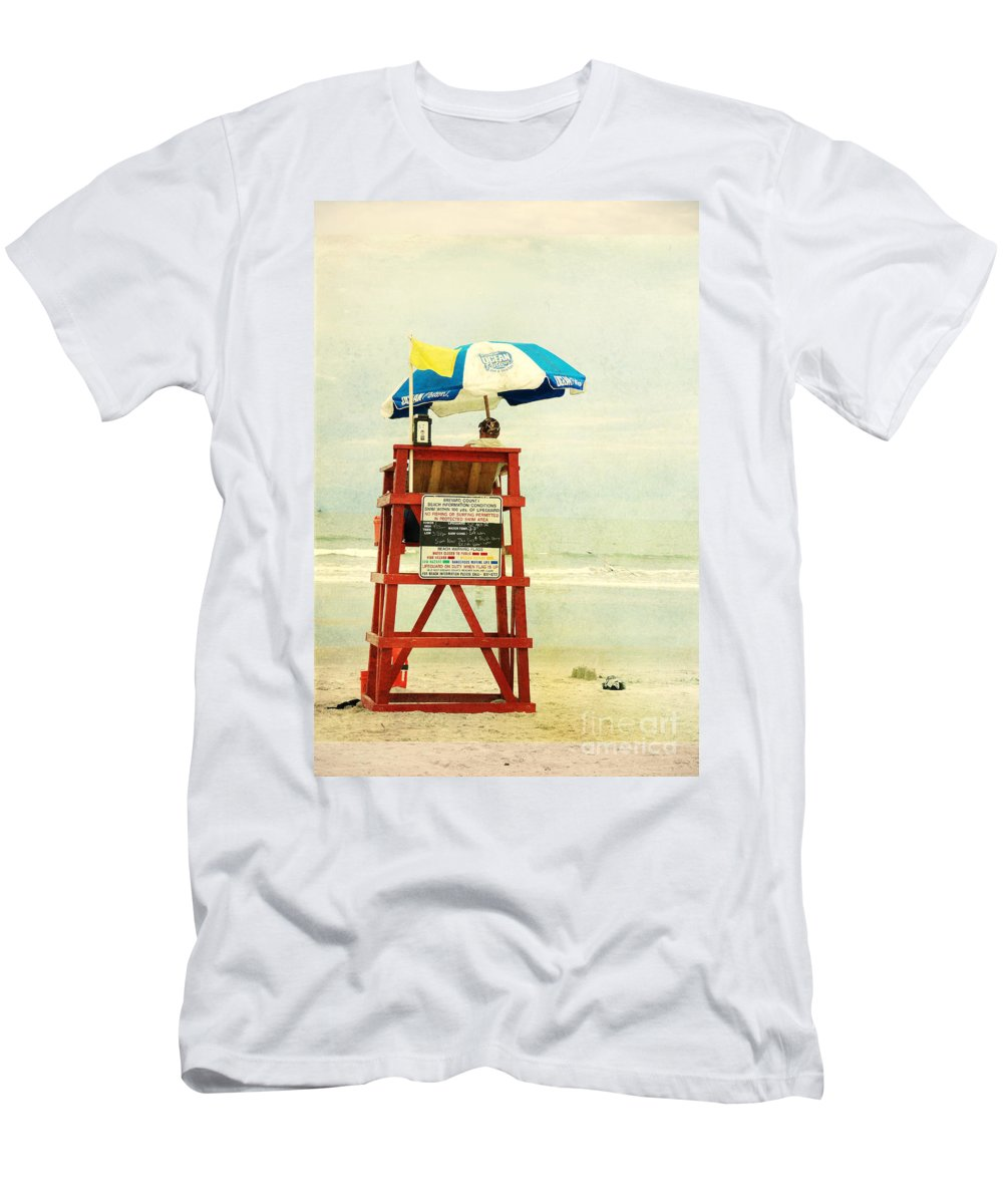 Beach Men's T-Shirt (Athletic Fit) featuring the photograph Duty Time by Susanne Van Hulst