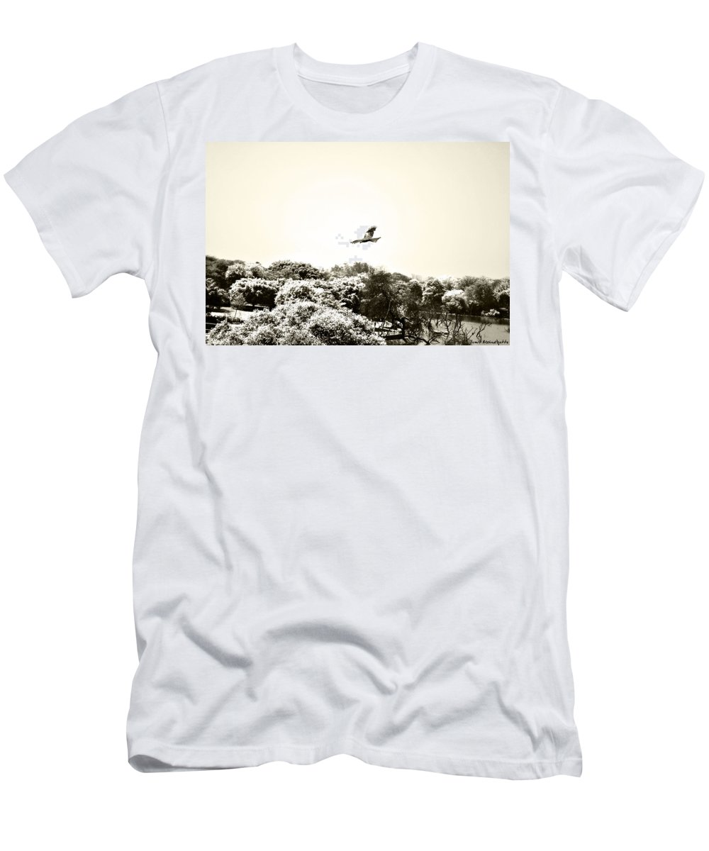 Eagle Men's T-Shirt (Athletic Fit) featuring the photograph Eagle Flying Above The Forest by Sumit Mehndiratta