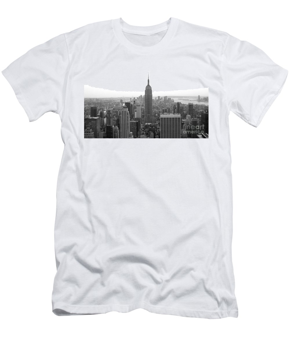 New York City Men's T-Shirt (Athletic Fit) featuring the photograph Empire State Building In Black And White by Living Color Photography Lorraine Lynch