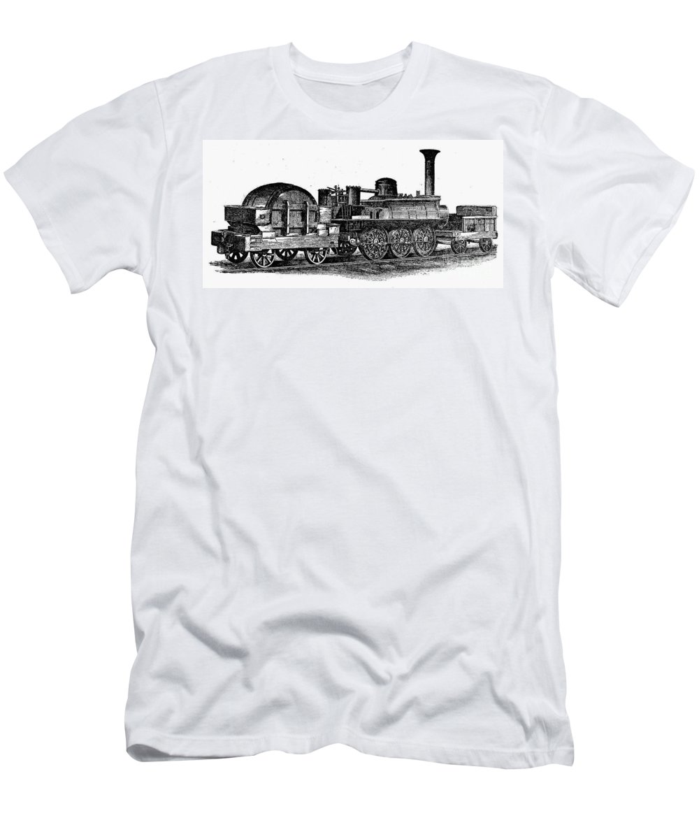 1832 Men's T-Shirt (Athletic Fit) featuring the photograph England: Locomotive, C1831 by Granger