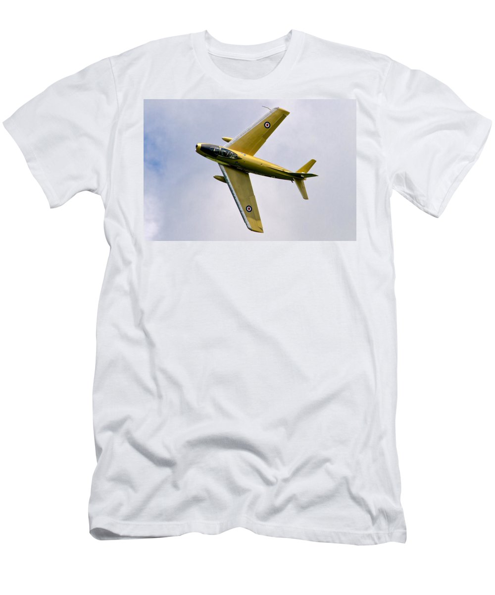 Airshows Men's T-Shirt (Athletic Fit) featuring the photograph F-86 Sabre Topside by Bill Lindsay