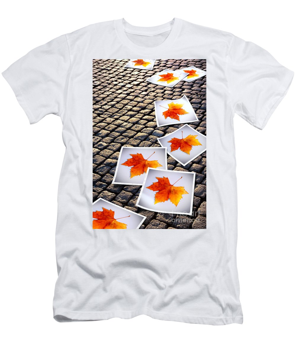 Abstract Men's T-Shirt (Athletic Fit) featuring the photograph Fallen Autumn Prints by Carlos Caetano