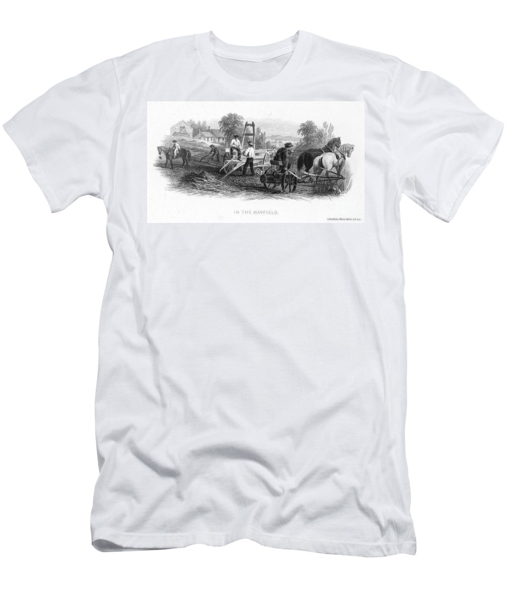 1870 Men's T-Shirt (Athletic Fit) featuring the photograph Farming, C1870 by Granger