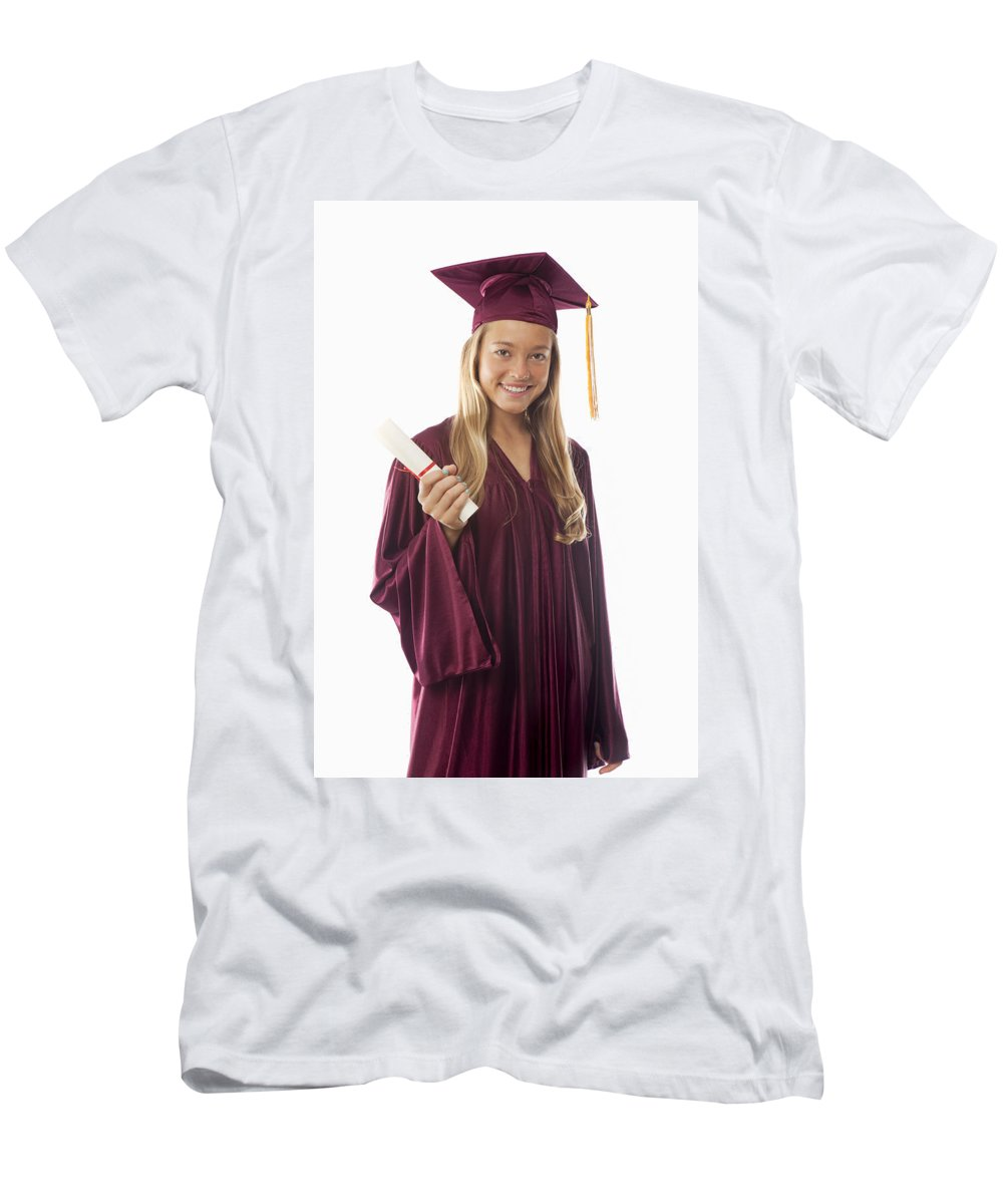 Accomplish Men's T-Shirt (Athletic Fit) featuring the photograph Female Graduate II by Tomas del Amo