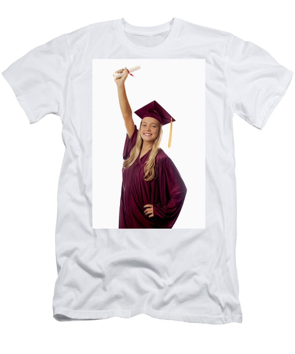 Above Men's T-Shirt (Athletic Fit) featuring the photograph Female Graduate by Tomas del Amo