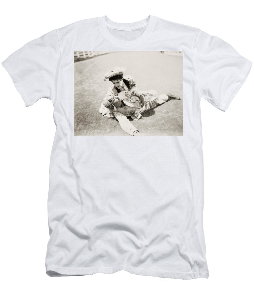 -transportation: Misc- Men's T-Shirt (Athletic Fit) featuring the photograph Film: The First Auto, 1927 by Granger