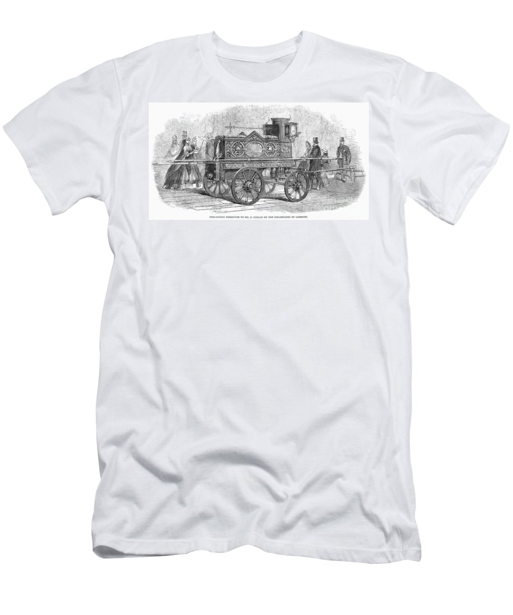 1862 Men's T-Shirt (Athletic Fit) featuring the photograph Fire Engine, 1862 by Granger
