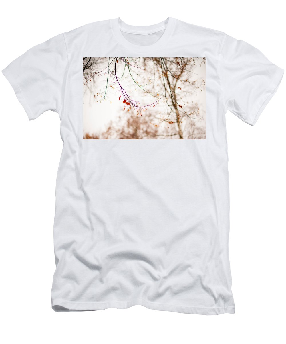 Snow Men's T-Shirt (Athletic Fit) featuring the photograph First Snow. Touch Of Gold by Jenny Rainbow