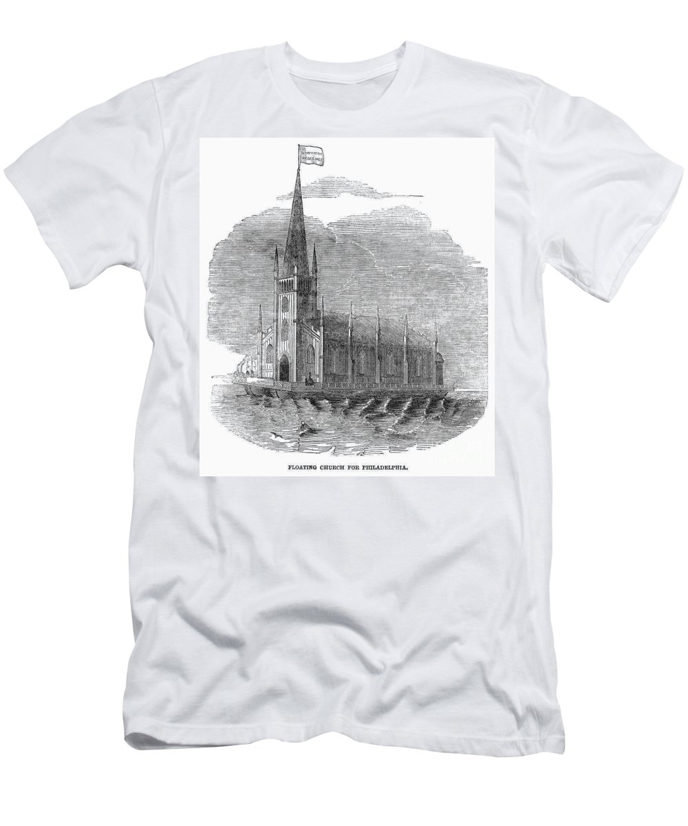 1849 Men's T-Shirt (Athletic Fit) featuring the photograph Floating Church, 1849 by Granger