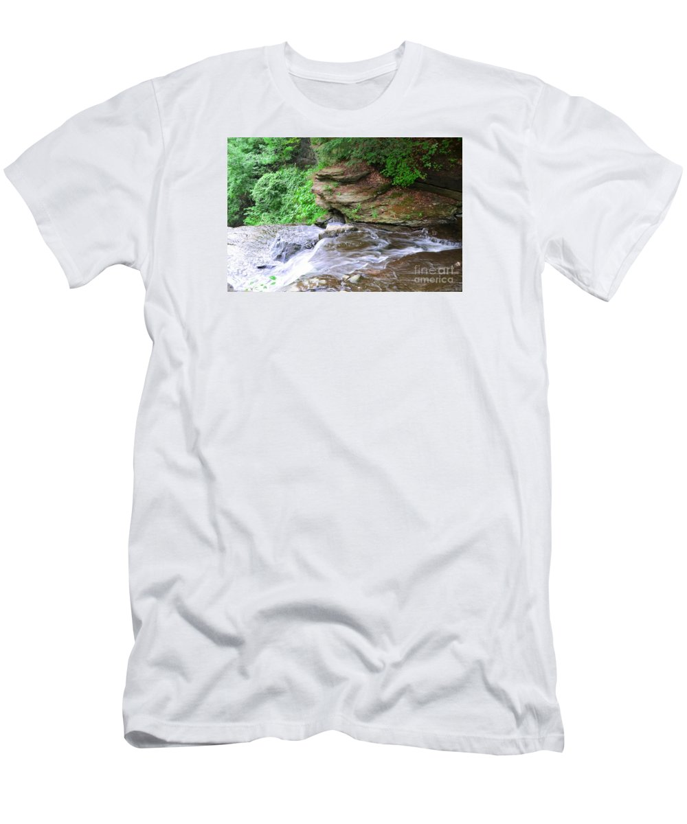 Letchworth Men's T-Shirt (Athletic Fit) featuring the photograph Flowing Water by Kathleen Struckle