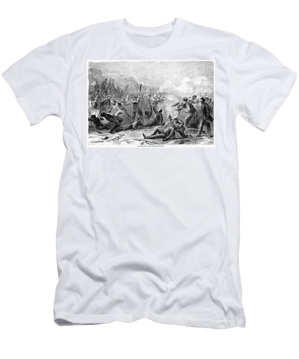 1864 Men's T-Shirt (Athletic Fit) featuring the photograph Fort Pillow Massacre, 1864 by Granger