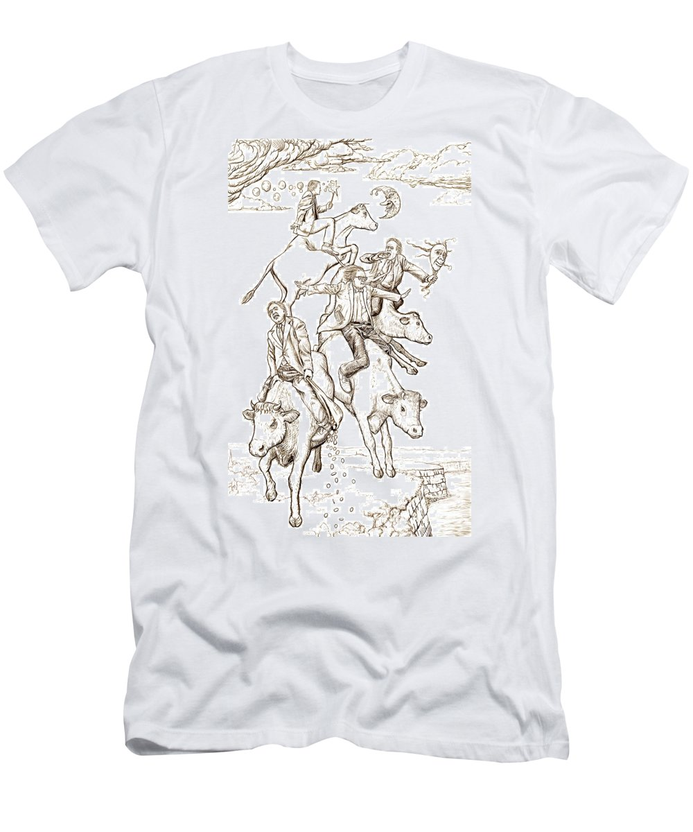 Apocalypse Men's T-Shirt (Athletic Fit) featuring the digital art Four Mad Cowboys Of The Apocalypse by Russell Kightley