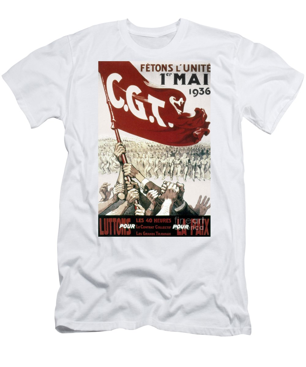 Cgt Men's T-Shirt (Athletic Fit) featuring the photograph France: Popular Front, 1936 by Granger