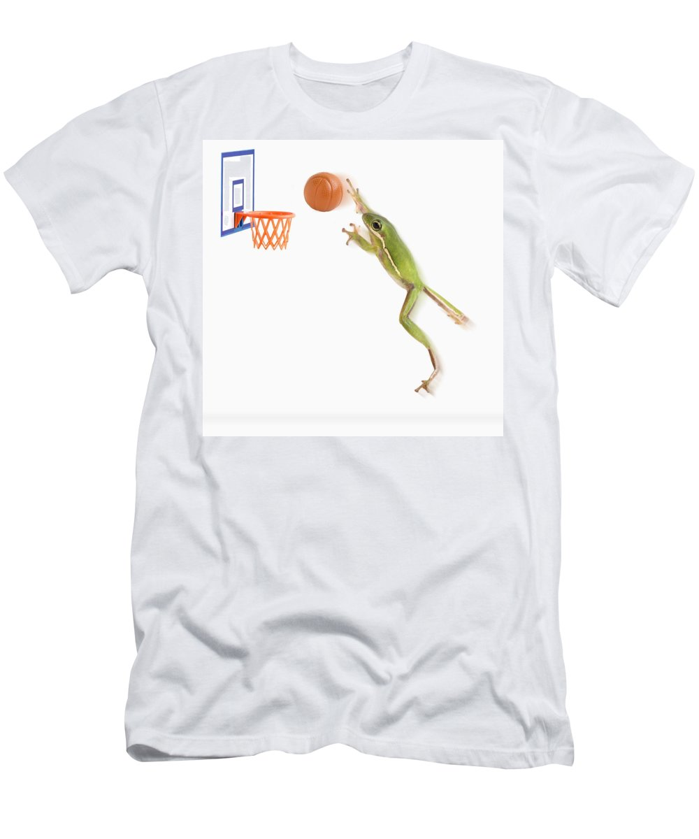 Animal Men's T-Shirt (Athletic Fit) featuring the photograph Frog Playing Basketball by Corey Hochachka