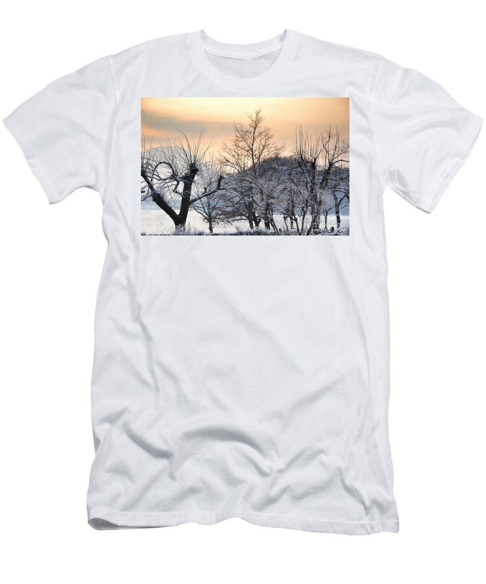 Frozen Men's T-Shirt (Athletic Fit) featuring the photograph Frozen Trees by Mats Silvan
