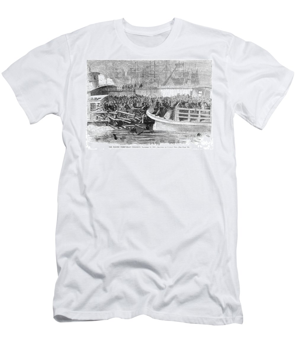 1868 Men's T-Shirt (Athletic Fit) featuring the photograph Fulton Ferry Boat, 1868 by Granger