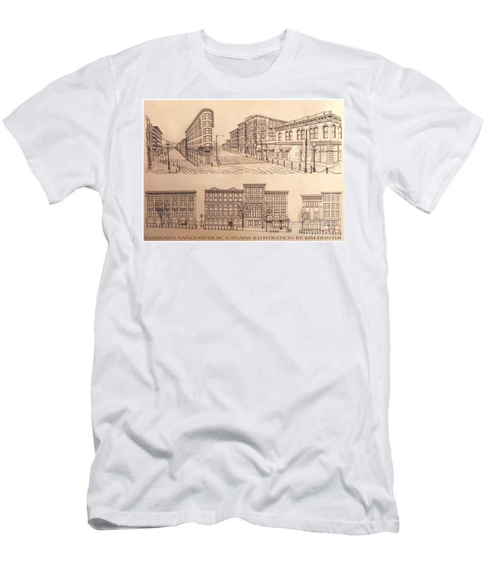 Cityscape Men's T-Shirt (Athletic Fit) featuring the drawing Gastown Vancouver Canada Prints by Kim Hunter