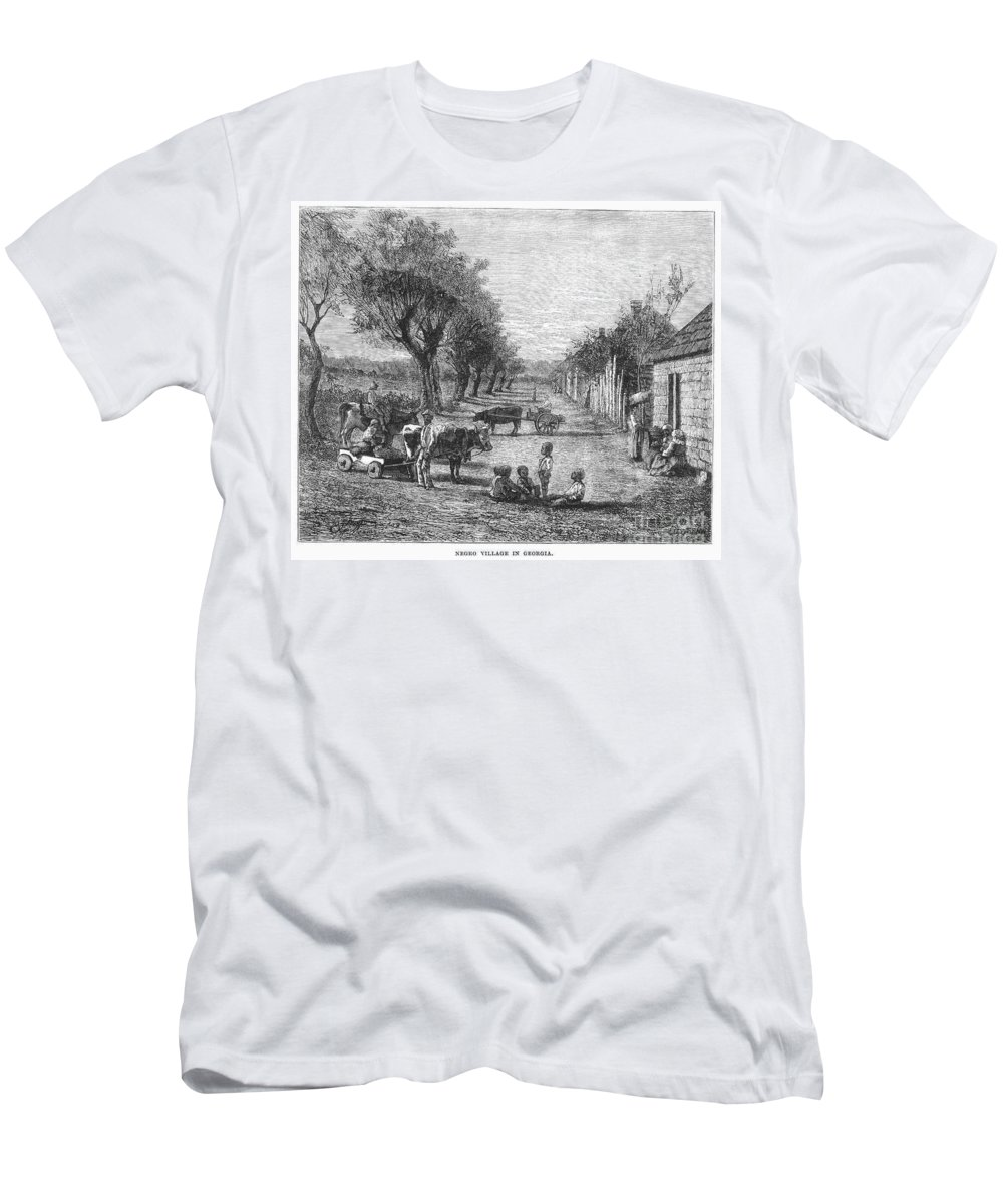 19th Century Men's T-Shirt (Athletic Fit) featuring the photograph Georgia: Black Village by Granger