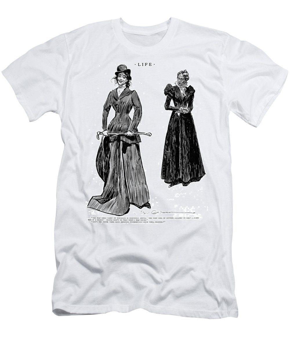 1897 Men's T-Shirt (Athletic Fit) featuring the photograph Gibson: Grandmother, 1897 by Granger