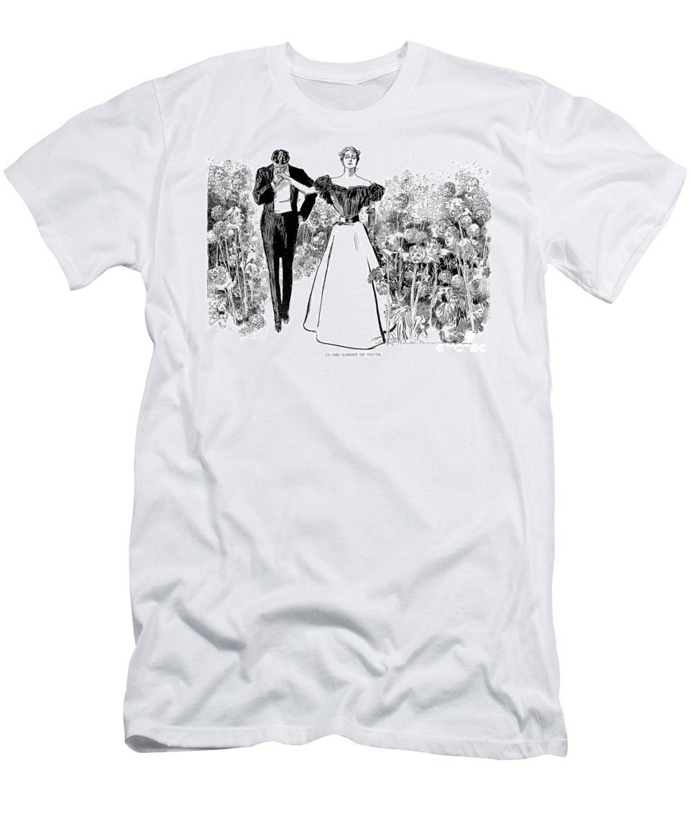 1897 Men's T-Shirt (Athletic Fit) featuring the photograph In Garden Of Youth by Charles Dana Gibson