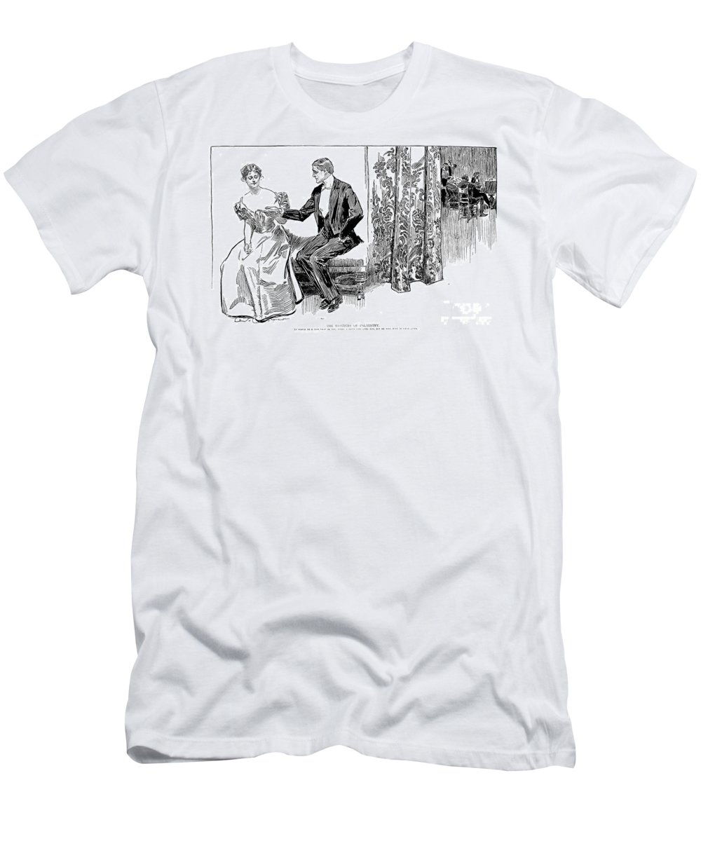 1897 Men's T-Shirt (Athletic Fit) featuring the photograph Palmistry, 1897 by Charles Dana Gibson