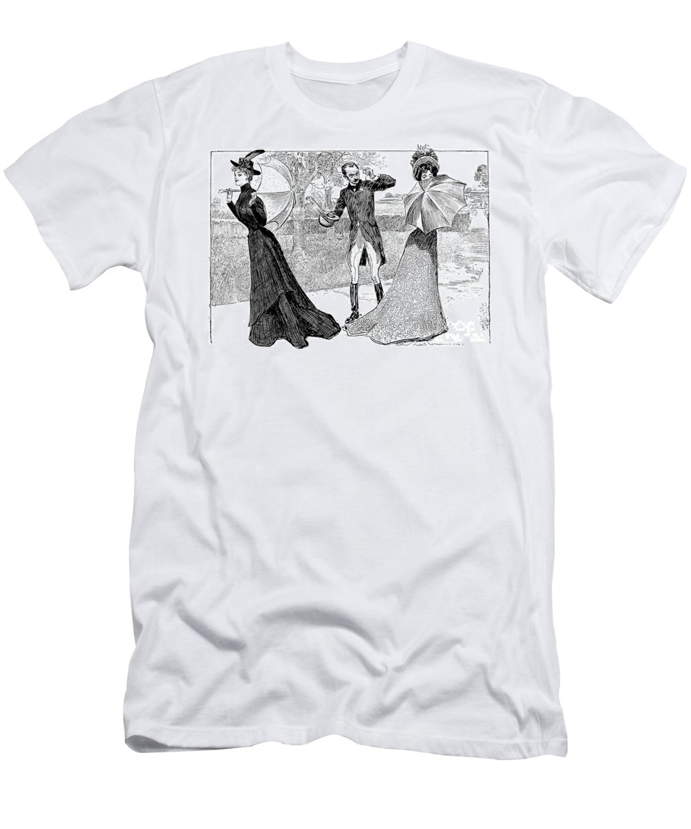 1899 Men's T-Shirt (Athletic Fit) featuring the photograph Gibson: Predicament, 1899 by Granger