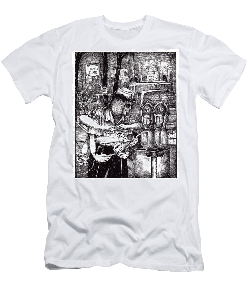 Gloucester Men's T-Shirt (Athletic Fit) featuring the drawing Gloucester Meter Maid by James Oliver