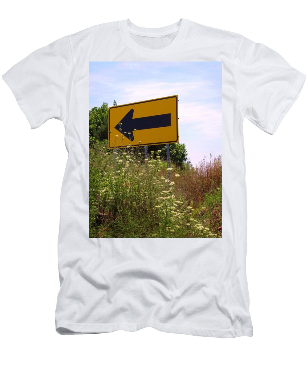 Road Sign Men's T-Shirt (Athletic Fit) featuring the photograph Go Left by Michele Nelson