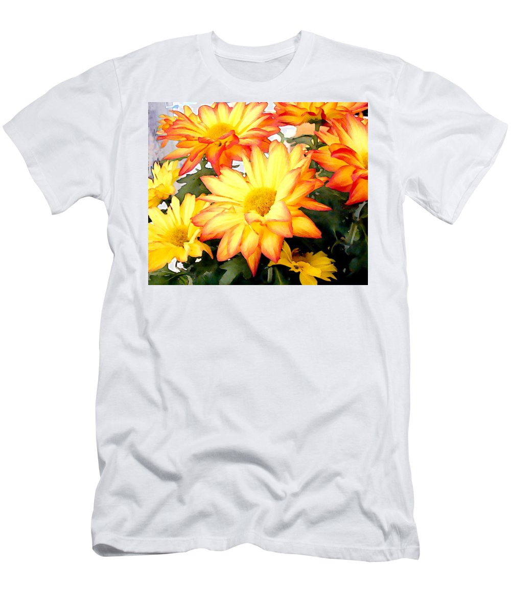Flower Flowers Mums Chrysanthemum Garden Flora Floral Mum Chrysanthemums Fall Autumn Gold Men's T-Shirt (Athletic Fit) featuring the painting Gold And Red Autumn Mums by Elaine Plesser