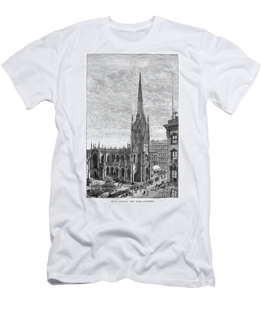 1883 Men's T-Shirt (Athletic Fit) featuring the photograph Grace Church, 1883 by Granger