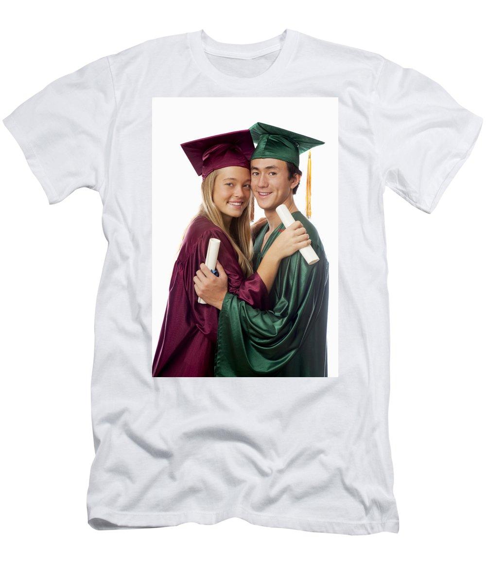 Accomplish Men's T-Shirt (Athletic Fit) featuring the photograph Graduation Couple by Tomas del Amo