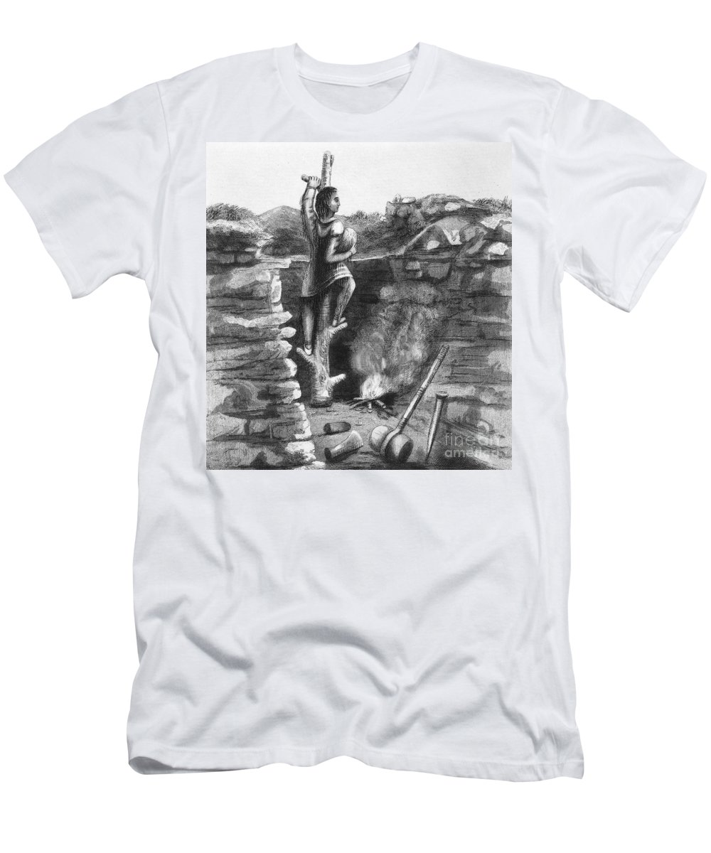 1854 Men's T-Shirt (Athletic Fit) featuring the photograph Great Lakes: Ancient Miner by Granger