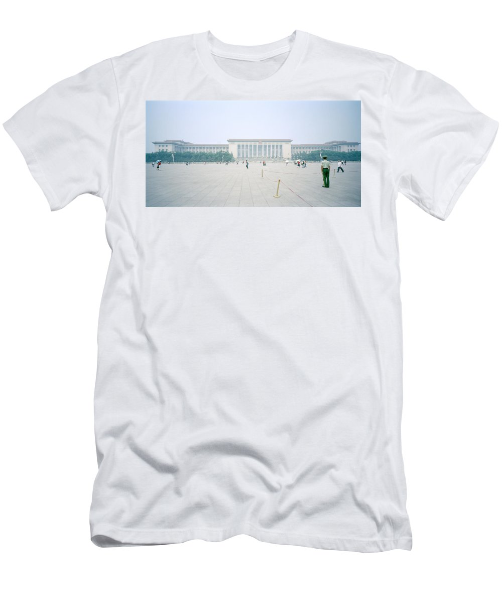 China Men's T-Shirt (Athletic Fit) featuring the photograph Grteat Hall Of The People In Beijing In China by Shaun Higson