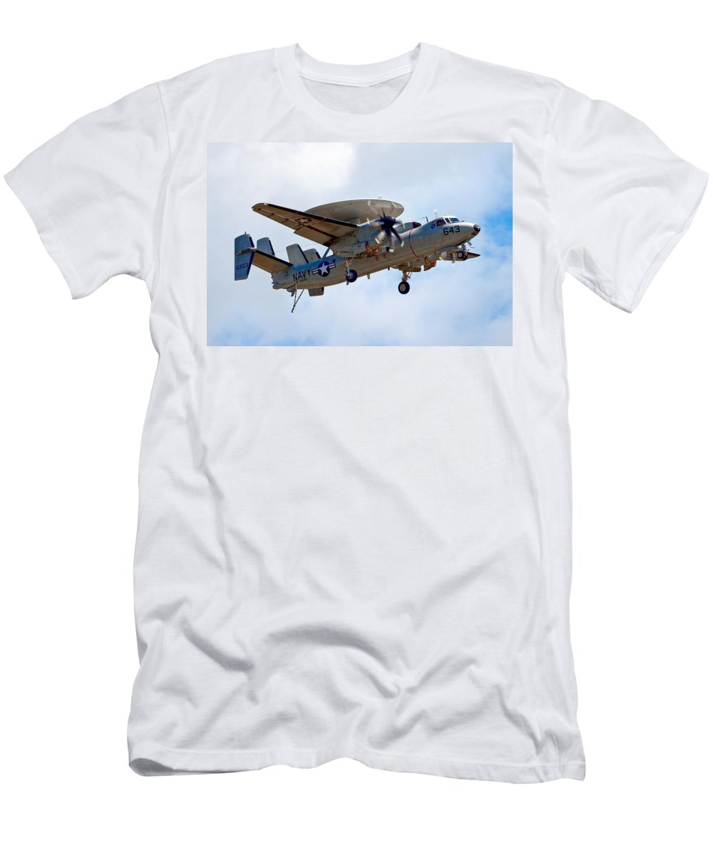 Airshows Men's T-Shirt (Athletic Fit) featuring the photograph Grumman E-2 Hawkeye by Bill Lindsay