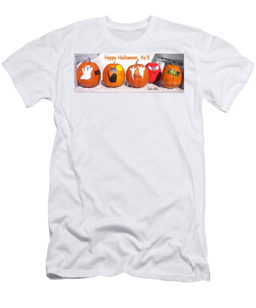 Pumpkins Men's T-Shirt (Athletic Fit) featuring the photograph Happy Halloween Yall by Julie Brugh Riffey