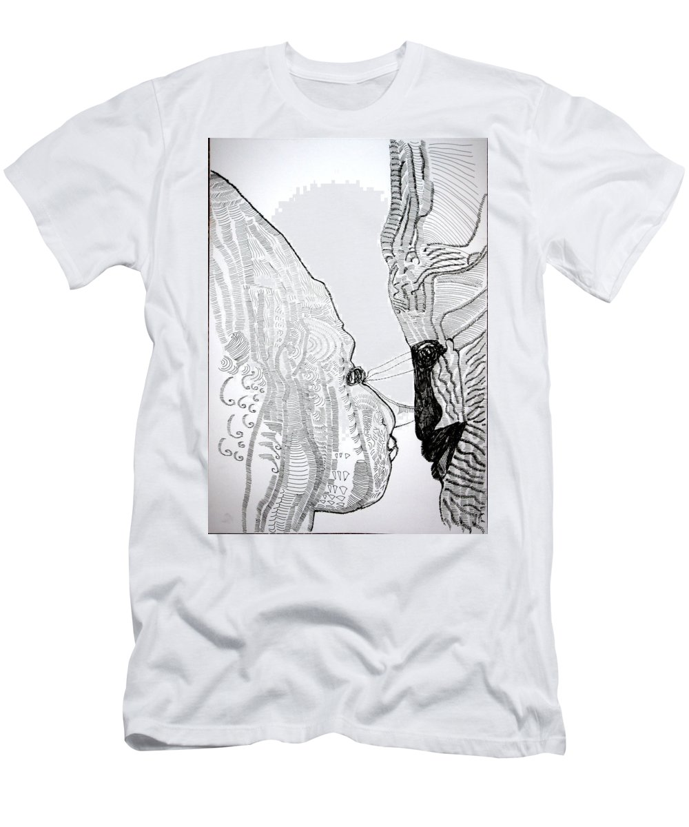 Love Men's T-Shirt (Athletic Fit) featuring the drawing Hearts Speak by Gloria Ssali